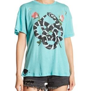 NWT Wildfox Snake Charmer Destroyed Tee